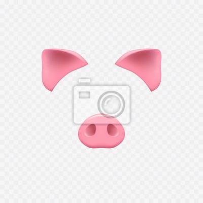 Maska na twarz na przezroczystym tle. Świniowate uszy i nosowe elementy do efektów czatu wideo.
