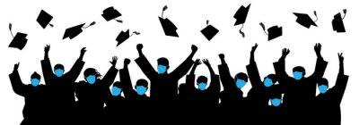 Naklejka Masked graduates. Graduates throwing cap. Crowd of students. Graduates in an era of pandemic COVID-19