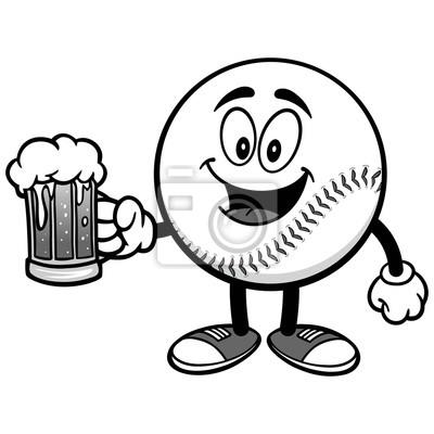 Maskotka baseballowa z ilustracją piwa