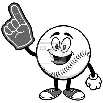 Maskotka baseballowa z palcem Ilustracja palca