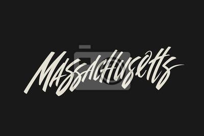 Massachusetts City USA Państwo Słowo Logo Nazwa Ręcznie malowane Szczotka Szablon Logo Kaligrafii