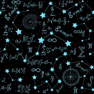 Naklejka Matematyczne astrofizyczne wektora bezszwowych wzór z wzorów, liczb i obliczeń odręcznych na tle gwiazd. Przestrzeń naukowa niekończąca się struktura