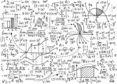 Naklejka Matematyka edukacja wektor wzór z odręcznymi wzorów, zadań,