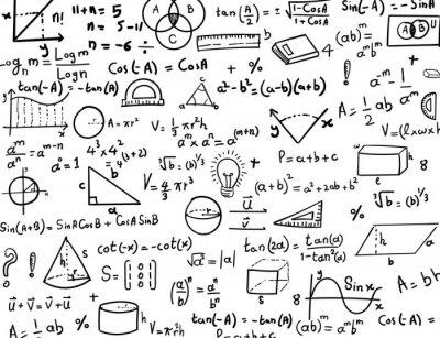Naklejka Matematyka i trygonometria wyciągnąć rękę formuły i rysunki Tło