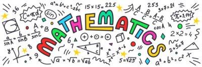 Naklejka Matematyka. Matematyka gryzmoły z kolorowe litery na białym tle.