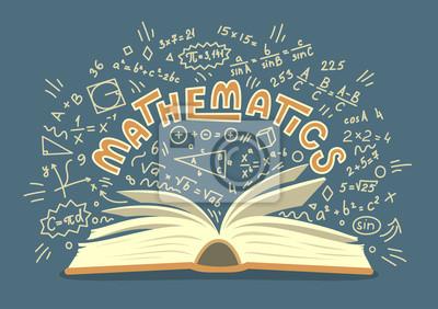 Naklejka Matematyka. Otwórz książkę z doodles matematyki z napisem. Ilustracja wektorowa edukacji.