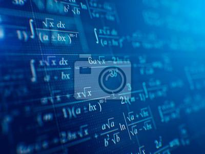 Naklejka Matematyki pojęcie - Matematyczne formuły na błękitnym tle. 3d rendering