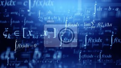 Naklejka Math concept - Mathematical integral formulas on blue background. 3d rendering