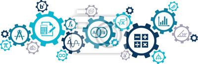 Naklejka mathematics / algebra / geometry concept: connected maths icons vector illustration