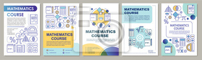 Naklejka Mathematics course, math lessons brochure template layout. Flyer, booklet, leaflet print design with linear illustrations. Vector page layouts for magazines, annual reports, advertising posters