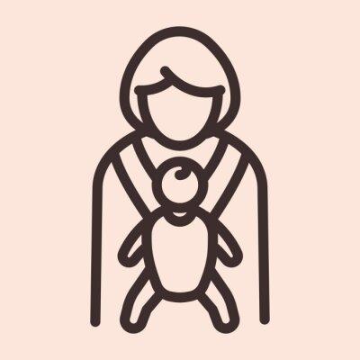 Matka i dziecko procy minimalistyczna płaska linia solidna ikona piktogram symbol