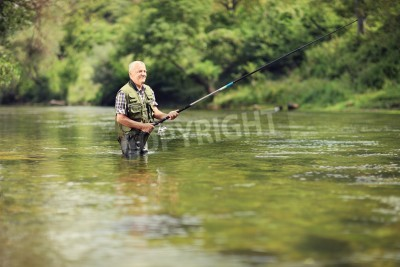 Naklejka Mature fisherman fishing in a river with a fishing rod