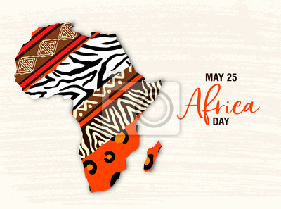 Naklejka May 25 Africa Day card of animal print map