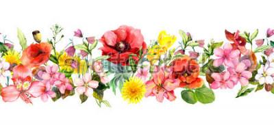 Naklejka Meadow flowers, wild grasses, leaves. Repeating summer horizontal border. Floral watercolor