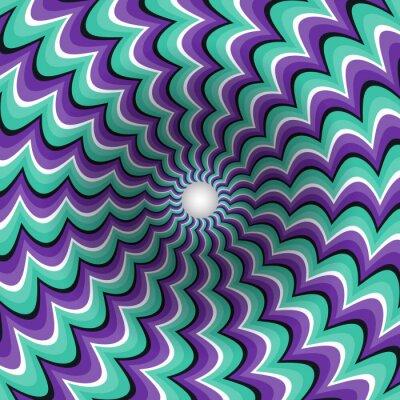 Naklejka Meandrujące paski lejek. Obracanie dziurę. Motley ruchomego tła. Optyczny ilustracji złudzenie.