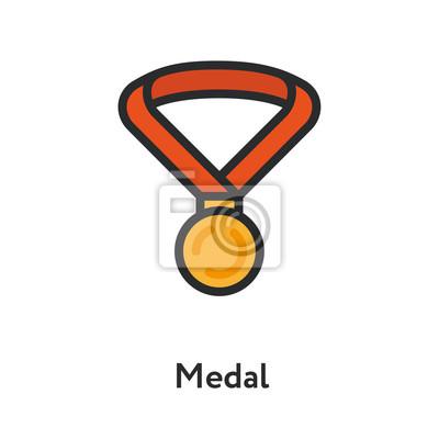 Medal Award Ribbon Trophy Gold Coin Minimal Color Flat Line Outline Stroke Icon