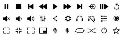 Naklejka Media player icons set. Collection of multimedia symbols and audio, music speaker volume, interface, design media player buttons. Play, pause, stop, record, forward, rewind. Vector illustration