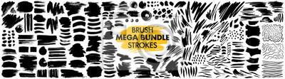 Naklejka Mega bundle of different ink brush strokes:rectangle,square and round freehand drawings.Ink splatters,grungy painted lines,artistic design elements:waves,circles,triangles.Vector paintbrush set.