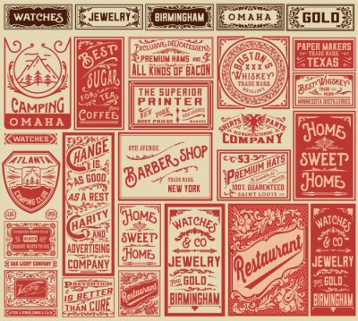 Naklejka Mega Pack retro wzory reklamowych i etykiet - Vector illust