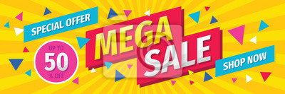 Naklejka Mega sale concept horizontal banner template design. Discount abstract promotion layout poster. Mega sale vector illustration.