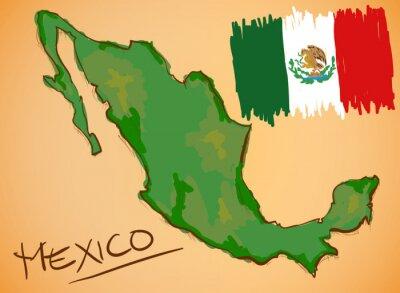 Naklejka Meksyk mapa i Flaga Wektor