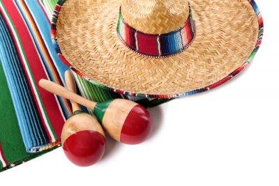 Naklejka Meksykańskie koc i sombrero