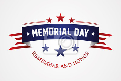 Naklejka Memorial day - American flag ribbon with lettering Memorial Day
