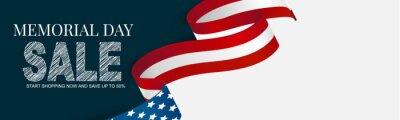 Naklejka Memorial Day banner, website or newsletter header. Background with American national flag ribbon. United States of America holiday celebration concept. Vector illustration.