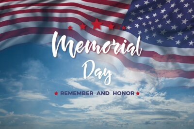 Naklejka Memorial day card with flag and text