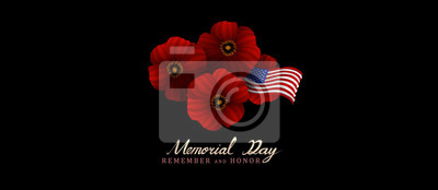 Naklejka memorial day remember and honor background,united states flag, with respect honor and gratitude posters, modern design with red poppies vector illustration