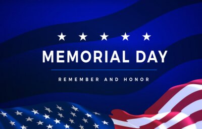 Naklejka Memorial Day - Remember and Honor Poster. Usa memorial day celebration. American national holiday