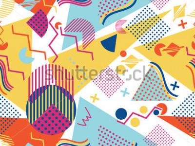 Naklejka Memphis seamless pattern. Geometric elements memphis in the style of 80's. Vector illustration.