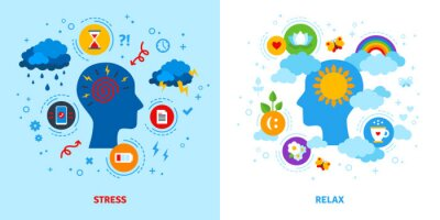 Naklejka Mental stress and relax concept. Vector illustration. Anger, negative or positive mind, emotional triggers. Flat style icons.