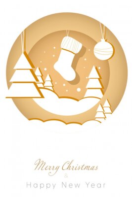 Merry Christmas greeting card. Trendy paper cut Winter Holidays art templates.