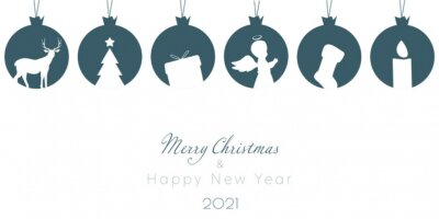 Merry Christmas greeting card. Trendy Winter Holidays art template.