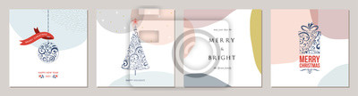 Merry Christmas greeting cards. Trendy abstract square Winter Holidays art templates.