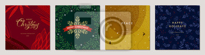 Naklejka Merry Christmas greeting cards. Trendy abstract square Winter Holidays art templates. Suitable for social media post, mobile apps, banner design and web/internet ads.