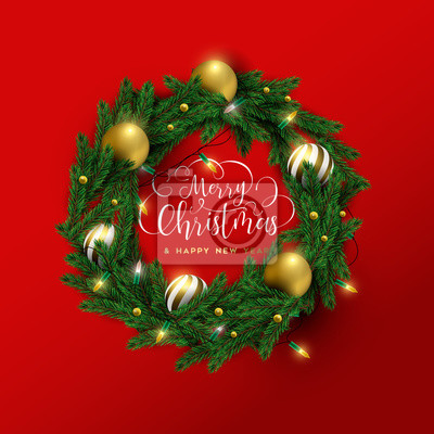 Merry Christmas new year red 3d wreath card