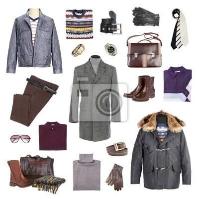 Męskie zimowe ubrania na białym tle