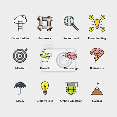 Metafora biznesowa Minimalistyczna kolorystyka linii płaskiej Nagłówek skoku zestaw znaków symboli. Drabina kariery, Praca w zespole, Rekrutacja, Crowdfunding, Misja, Wzrost, Wiedza, Brainstorm, Creat