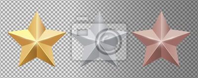 Naklejka Metal stars. Realistic gold silver bronze stars vector set. Gold star award, golden, silver and bronze illustration