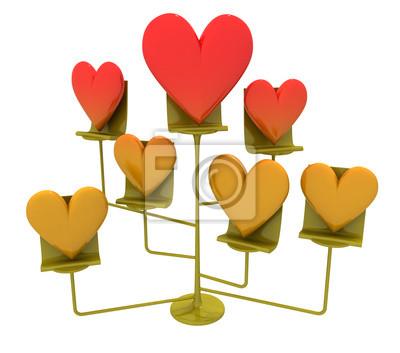 metalic stoisko z serca złotych i czerwone