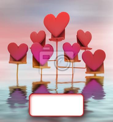 metallic stać w wodzie z różowym czerwonym kier karty