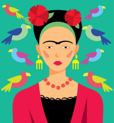 Naklejka Mexican kobieta w makijażu, ilustracji wektorowych. Bohaterowie kreskówek.