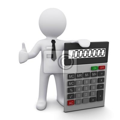 Mężczyzna 3D z kalkulatora