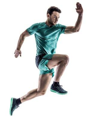 Naklejka Mężczyzna biegacz jogger uruchomiony odizolowanych