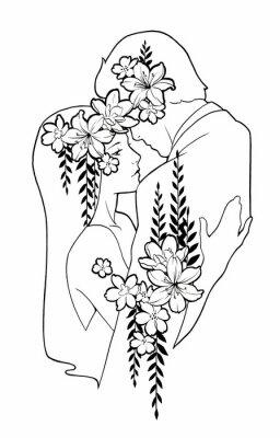 Mężczyzna i kobieta przytulanie, ozdobione kwiatami. Ręcznie malowane ilustracji w kolorze czarnym atramentem. Kocham taniec para.
