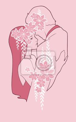 Mężczyzna i kobieta przytulanie, ozdobione kwiatami. Ręcznie malowane ilustracji w różowych kolorach. Kocham taniec para,