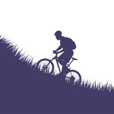 Naklejka Mężczyzna na rowerze sylweta
