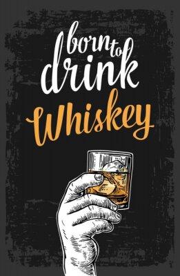 Naklejka Mężczyzna ręka trzyma szklankę z whisky i kostki lodu. Vintage grawerowanie ilustracji wektorowych na etykiecie, plakat, zaproszenie na imprezę